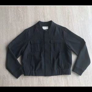 Canvas by Lands End Women's Black Bomber Jacket 10